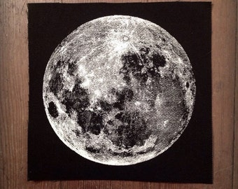 Screen printed canvas patch• sew on • Full Moon small •