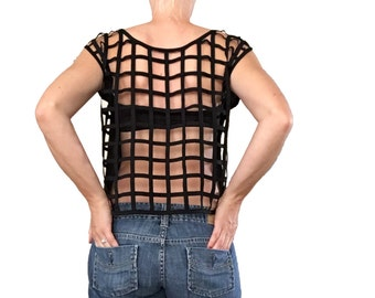 Black Open Back Shirt/ Black Cage Top/ Open Back Cage/ Black Blouse/ Black Tank Top/ Open Back/ Black Crop Top/ Black Summer Top