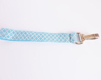 Elastic Keychain- Blue with Silver Quatrefoil- Wrist Strap