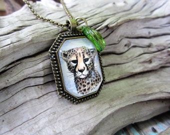 Tiny original Cheetah painting necklace One of a kind art
