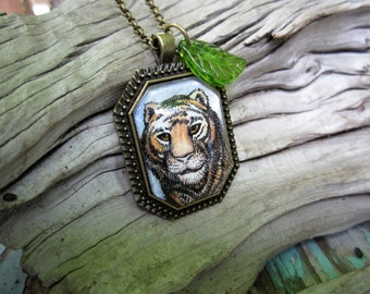 Tiny original Tiger painting necklace One of a kind art