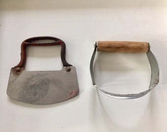 Two Vintage Primitive Rustic Kitchen Tools/Cutters/Choppers/Slicers/Pastry cutter, French Country