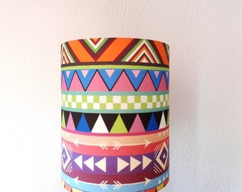 Colorful drum lampshade, Geometric drum lampshade, Handmade drum lampshade