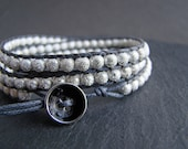 Handmade wrap bracelet with stardust sterling silver beads