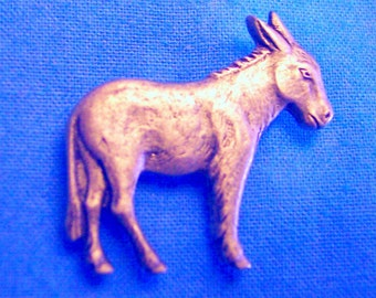 Small Donkey, Clutch Back Pin, Handmade, Nickel and Lead Free, Gold Plate