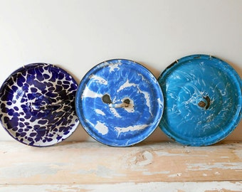 Vintage Graniteware Blue Pot Lids Trio With Plate Hangers / French Country Decor