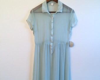 VINTAGE Baby Blue Silk Sheer Midi Dress // Babydoll Shirtdress