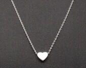 Dainty Necklace, Tiny Silver Heart, Delicate Fine Chain, Rhodium Silver