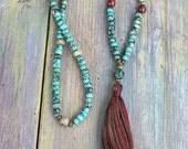 Beautiful african turquoise gemstone mala necklace