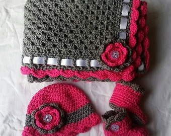 Boy or Girl Crochet Baby Blanket Set