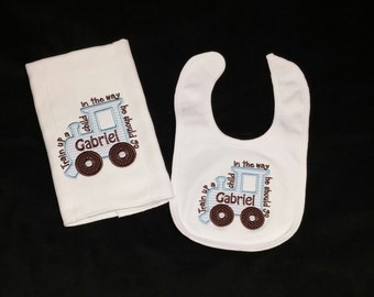 Boys Personalized Bib and Burp Cloth Set Train up a child in the way he should go