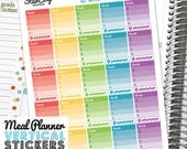 Printable Meal Planner Stickers for EC Vertical, Meal Plan Box, Fitness Stickers, Water tracker, Vitamin Tracker, Vertical