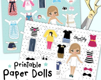 Printable Paper Dolls, Printable Party kit, Printable games, Printable toys, cut outs, paper download, instant download, hand drawn dolls
