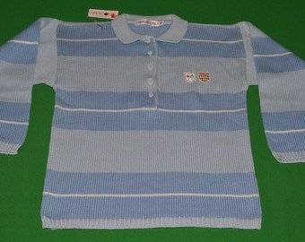 Vintage SASSON Paris New York Sweater Strip Blue Early 1980s