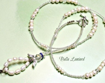 BLP2028  Angelic White  Freshwater Pearls Lanyard with Toggle Clasps