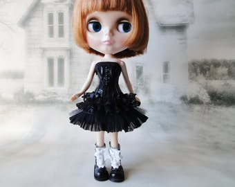 Gothic burlesque black short corset dress hand made fits Blythe doll