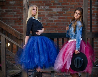 Adult tea length tutu tulle skirt rustic cowgirl skirt sewn tutu wedding bridesmaid tutu skirt skirt for women womens skirts womens clothes