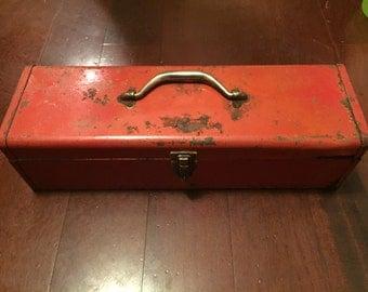 Vintage Industrial Red Tool Box