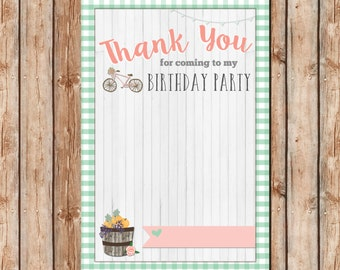 Bike Birthday Thank You Card | Flat Thank You Card | Digital File