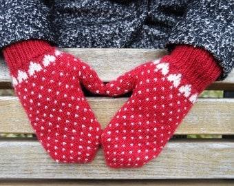 Red Winter Mittens | White Hearts Mittens | Wool Mittens With Heart | Red Women's Gloves | Warm Red Wool Gloves | Christmas gift (014)