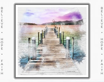 Greeting Cards for Breast Cancer Patients & Survivors, Cards for Cancer Survivor, Lake George, New York, painting, digital art, iPad Art