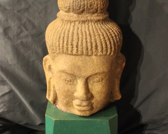 Khmer-Style Sandstone Buddha Head on Wooden Base