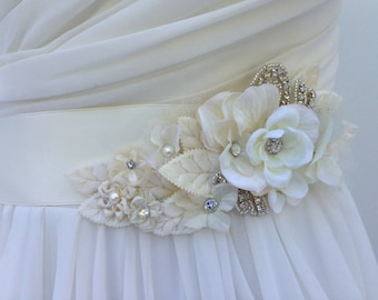 Floral Bridal Sash-Wedding Sash In Ivory With Swarovski Crystals And Pearls, Flower Sash, Bridal Belt,