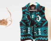 Women's Fuzzy Vintage Turquoise and Black Southwestern Aztec Vest