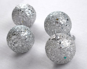 Retro Styrofoam Silver Glitter Ball Ornaments Set of 4