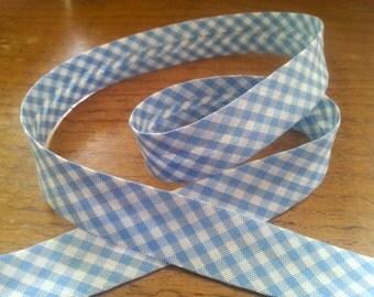 Blue Gingham Print Cotton Bias Binding - 18mm Bias Binding - Gingham Edging - Checked Trim