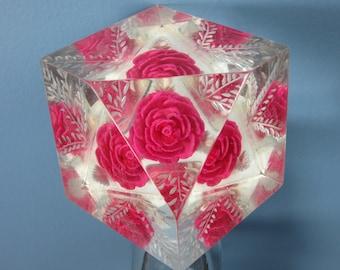 Vintage Reverse Carved Lucite Rose Paperweight