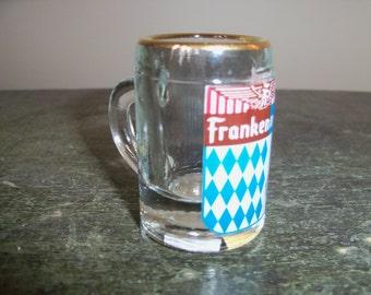 Vintage Frankenmuth Michigan Travel Souvenir Miniature Glass Mug Stein Bavaria