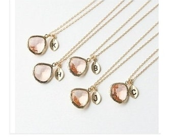 Peach Drop Gold Initial Necklace
