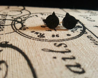 Black glittery cat earrings