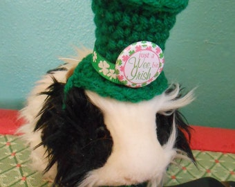 Crocheted Leprechaun Hat for Bearded Dragons, Rats, Ferrets or Guinea Pigs, St Patricks Tiny Green Tophat for Pets