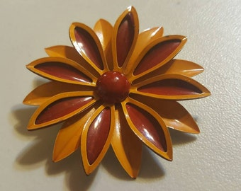 Flower Brooch, red and yellow