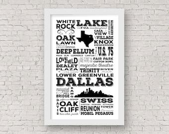 Dallas Subway Art, Dallas Subway Sign, Dallas Poster, Dallas Artwork, Dallas Gift, Subway Art, Subway Sign, Subway Poster, Bus Roll