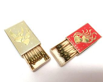 Match Box, 2 Boxes,Vintage Bridge Matches,Set, Valentines, Italy,Wax Matches, Gold Foil, Mad Men, 1950's, Saints ans Sinners, Theme Party