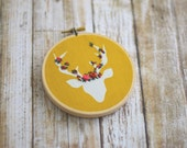 Floral Embroidery, Deer Embroidery, Embroidery Decor, Nursery Decor, Office Decor, Embroidery Hoop, Deer, Needlepoint, Mustard, Baby Shower