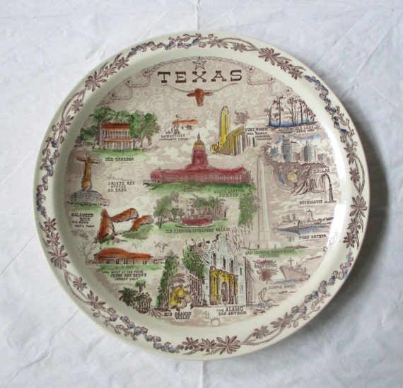 "10.5"" Vernon Kilns TEXAS Brown Transferware Picture Plate, Hand-Tinted Scenes (c. early 1950s)"