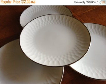 "SUMMER SALE Noritake China ""Sonoma"" White Embossed China Platinum Trim China Set of Four Dessert Bread Wedding Cake Plates"