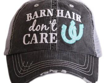 Barn Hair Don't Care Trucker Style Hat, Baseball Cap, Rodeo, Summer Hat, Beach Hair, Beach Hat, Girls or Ladies, River, Lake, Pink, Blue