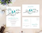 Birds wedding invitation ...