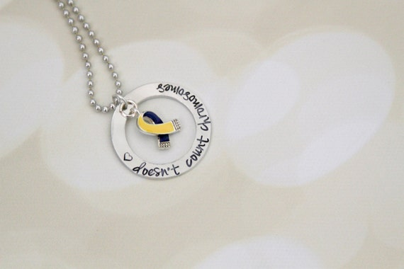 Love doesn't count chromosomes Down Syndrome Awareness Necklace with Awareness Ribbon - Hand Stamped