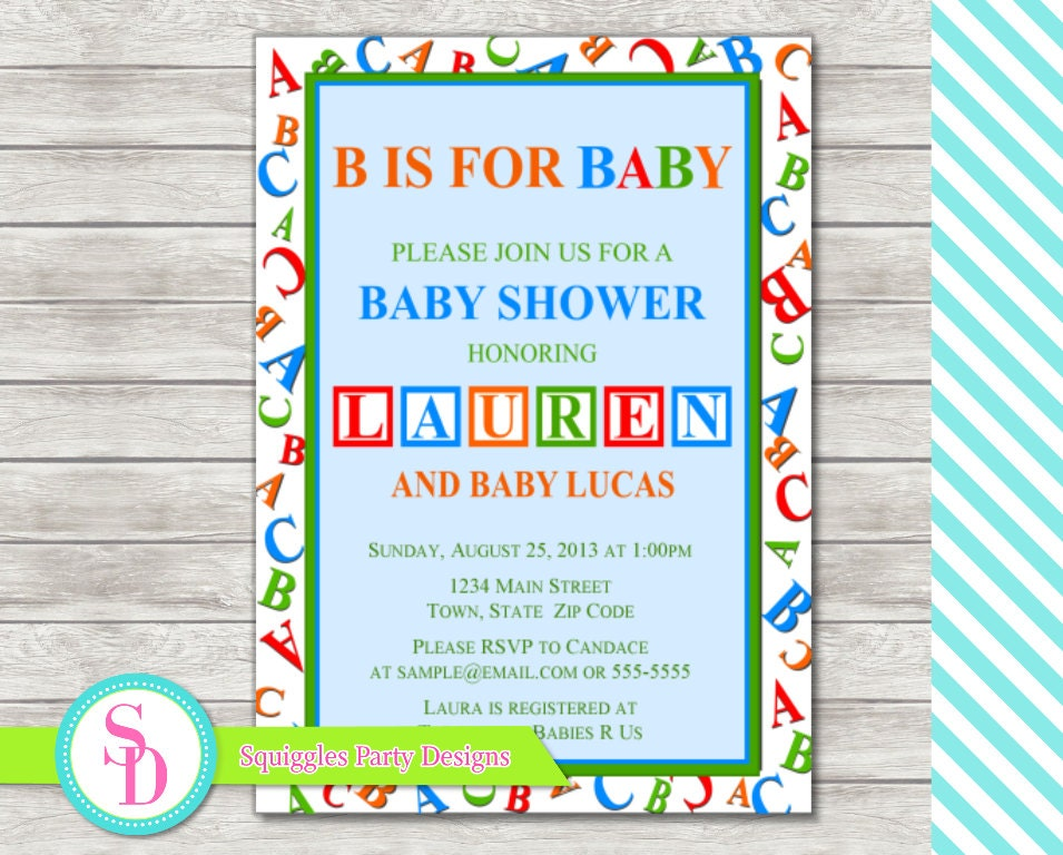 abc baby shower invitation digital file by squigglesdesigns