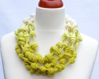 Art yarn necklace 'Juice' - Wearable  Handspun Merino wool art yarn hand dyed