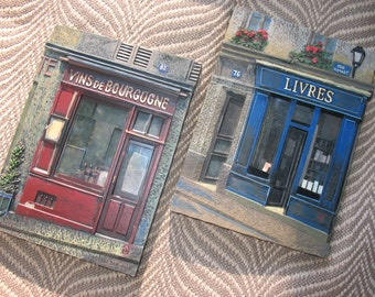 2 Chiu Tak Hak Resin French Wall Plaques- Vins de Bourgogne & Livres