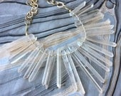 Pink Quartz Crystal Fan Statement Necklace