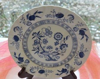 Vintage Johnson Brothers Plate - Dessert/Salad, Nordic Blue, Asian Onion, Swirled - Vintage - Fabulous!