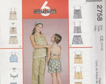 McCall's 2758 Size 3-4-5 Children's and Girls' Tops, Capri Pants and Shorts 2000 UnCut